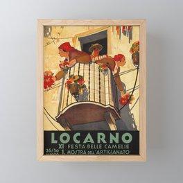 vintage Plakat locarno xi festa dele camelie maggio camelia Framed Mini Art Print