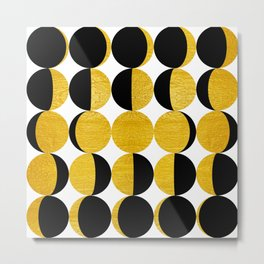 Simple Mid-century Moon Phases, Geometric Golden Paint Texture | Modern Industrial Art Metal Print