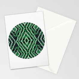 Green Circle African Dye Resist Fabric Adire Boho Chic Stationery Cards