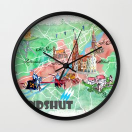 Landshut Bavaria Illustrated Map with Main Roads Landmarks and Highlights Wall Clock