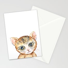 cute baby cat pussy watercolor  Stationery Cards