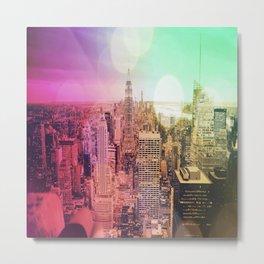 New York City Rainbow Bokeh Metal Print
