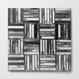 Music Cassette Stacks - Black and White - Something Nostalgic IV #decor #society6 #buyart Metal Print