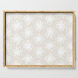 Boho Sun Pattern III Subtle White Serving Tray