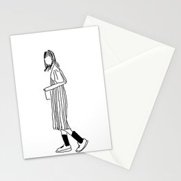 Hipster Girl Overalls Socks Dress Vintage Illustration Black and White Drawing Stationery Cards