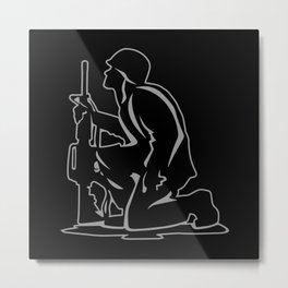 Military Serviceman Kneeling Warrior Tribute Illustration Metal Print
