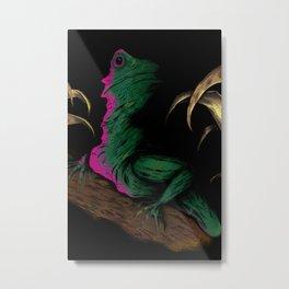 Lizard in Repose Black  Metal Print