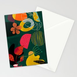 mid century shapes garden party 3 Stationery Cards