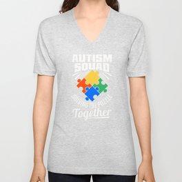 Autism Awareness Squad Solving Puzzle Together Cute Autistic Crew Unisex V-Neck