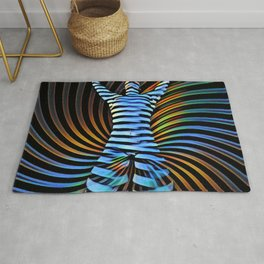 3506-DEW Kneeling Nude Striped Figure in Abstract Power Form Rug