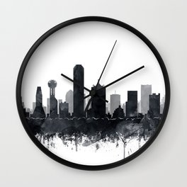 Dallas Skyline Black White Watercolor by Zouzounio Art Wall Clock