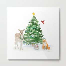 Woodland Animals Christmas Watercolor Metal Print