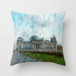 Reichstag, Berlin - abstract landmark drawing / painting /  impressionism style Illustration  / Throw Pillow