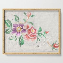 Boho flowers cross stitch Serving Tray