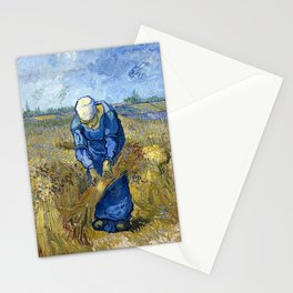 Vincent van Gogh - Peasant woman binding sheaves, after Millet - Digital Remastered Edition Stationery Cards