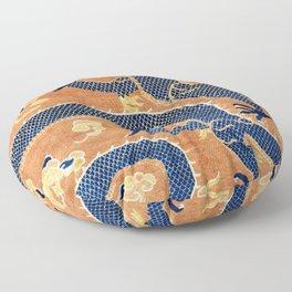Ningxia Blue Dragon Chinese Pillar Antique Rug Print Floor Pillow