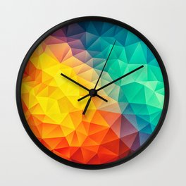 Abstract Polygon Multi Color Cubism Low Poly Triangle Design Wall Clock