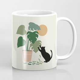 Cat and Plant 13: The Making of Monstera Coffee Mug