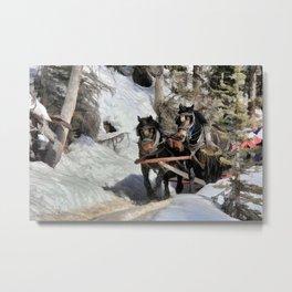 Horse Drawn Wintery Sleigh Ride Metal Print