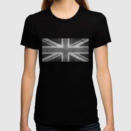 British Union Jack flag in grungy tex T-shirt