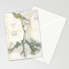 Vintage Map of The Mississippi River Delta (1874) Stationery Cards