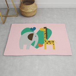 Elephant and Giraffe Pink Rug