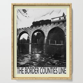 retro noir et blanc The Border Counties Line Serving Tray
