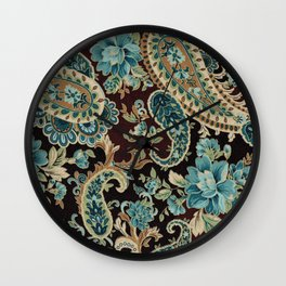 Brown Turquoise Paisley Wall Clock