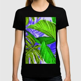 Lime Green, Purple Large Leaves in Lush Jungle Setting by Saletta Home Decor T-shirt