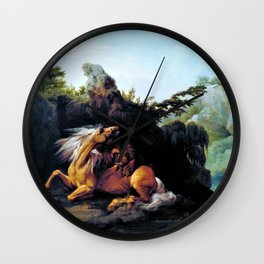 Horse Devoured By A Lion - George Stubbs Wall Clock