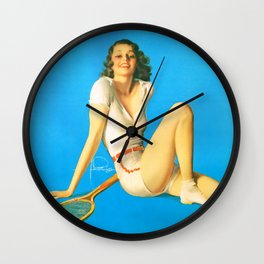"""Pinup by Rolf Armstrong """"Tennis Anyone?"""" Wall Clock"""
