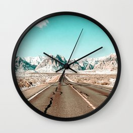 Vintage Desert Road // Winter Storm Red Rock Canyon Las Vegas Nature Scenery View Wall Clock