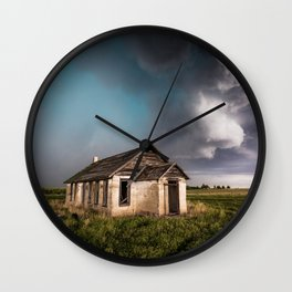 Pioneer - Abandoned Settlement Under Storm On Colorado Plains Wall Clock