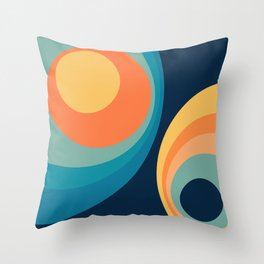 Colorful retro circles design 3 Throw Pillow