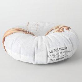 The Creation of Adam by Michelangelo Fingers Floor Pillow