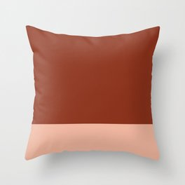 Rich Maroon Rust and Pale Salmon Color Block Throw Pillow
