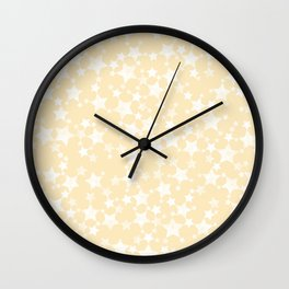 Lino Block Print Pastel Yellow and White Stars Pattern Wall Clock