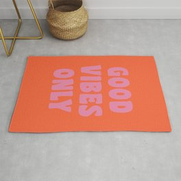 Retro Good Vibes Only Lettering in Pink and Orange Rug
