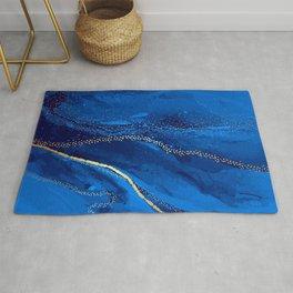 Blue watercolor liquid  Rug