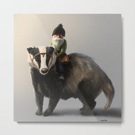 Gnome on Badger Metal Print