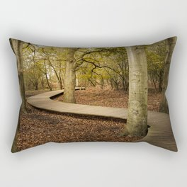 Hiking path leading through autumn forest Rectangular Pillow