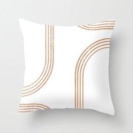 Mid Century Modern 1 - Geometrical Abstract - Minimal Print - Terracotta Abstract - Burnt Sienna Throw Pillow