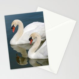 Mute Swan Pair Profile Stationery Cards