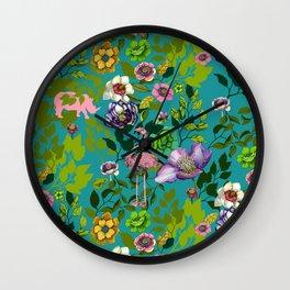Flamingo Flowers Wall Clock