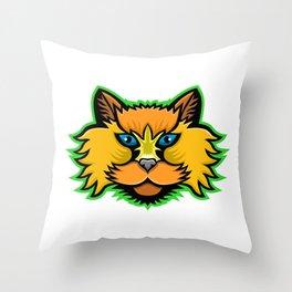 Selkirk Rex Cat Mascot Throw Pillow
