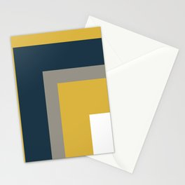 Half Frame Minimalist Pattern in Deep Mustard Yellow, Navy Blue, Gray, and White Stationery Cards