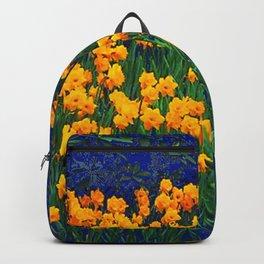 GOLDEN DAFFODILS PURPLE-GREEN GARDEN Backpack