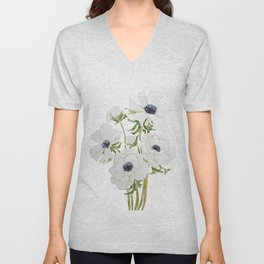 white anemone flower  watercolor painting Unisex V-Neck