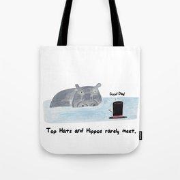 Top Hats and Hippos rarely meet.  Tote Bag