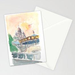 Paris France Montmartre Sunset At Sacre Coeur Stationery Cards